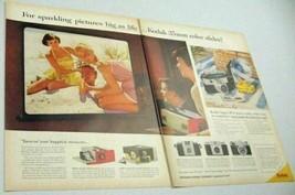 1958 Print Ad Kodak 35mm Color Slide Projectors Ladies & Man at Beach - $10.33
