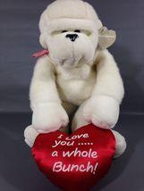 Carlton Cards RARE Heart Warmers White Monkey Plush Chimp I love You Red... - $64.99