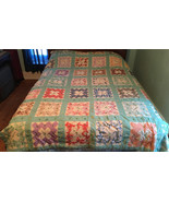 Vintage Hand Stitched Hand Tied Friendship Quilt Brickwork Block Signatu... - $149.99