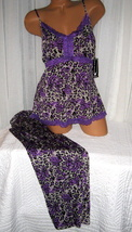 Plus Size Stretch Cami Top Pajama Set 1X Purple Animal Print Soft - $28.99