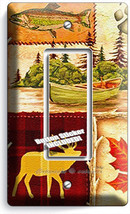 Hunting Cabin Fishing Moose Patchwork 1 Gfci Light Switch Wall Plates Room Decor - $11.99