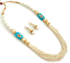 Indian Bollywood Gold Plated Sky Blue White Beads Kundan Necklace  Earrings Set - $13.65