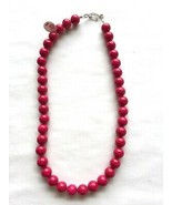 "Red Large Fossil Bead Necklace 15 1/2"" Hook & Eye Clasp Handmade - $5.81"