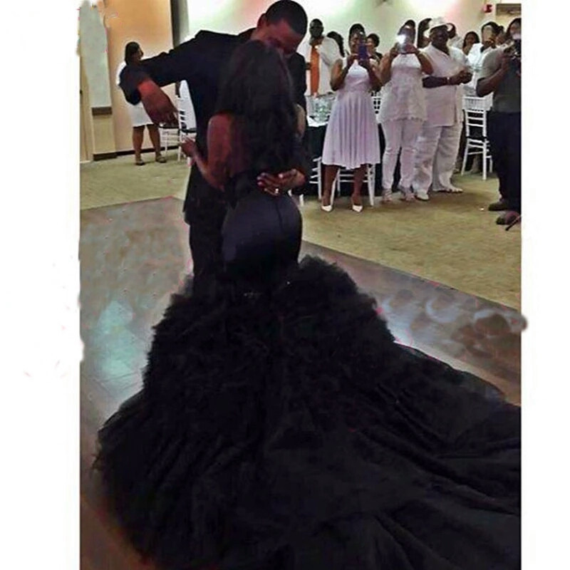 Black Mermaid Wedding Dress Vintange gothic Sweetheart Wedding Gowns image 3