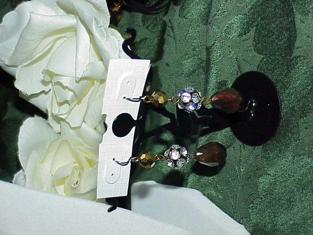 VINTG DESIGNER LIZ CLAIBORNE FANCY NECKLACE CRYSTAL GLASS ACRYLIC RHINESTONE SET