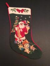 "Christmas Needlepoint Stocking Santa Tree Bag Of Toys Doll Bear 18"" St Nick - $24.80"