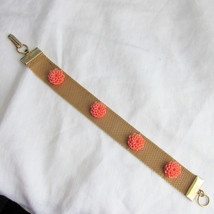 Vintage Carved Coral Celluloid Roses Flexible Mesh Strap Bracelet Gold Plate - $17.99