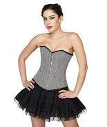 Black White Check Gothic Burlesque Waist Training Overbust Halloween Cor... - $65.33