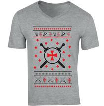Knight Templar Pattern 1 - NEW COTTON GREY V-NECK TSHIRT - $20.70