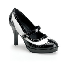 "FUNTASMA Contessa-06 4"" Heel Pumps - Black-White Patent - $51.95"