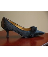 "LIZ CLAIBORNE SHOE 7.5 M BLACK PUMPS W/ROSE LEATHER SOLE LIGHTLY WORN 2.5"" HEEL - $34.99"