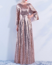 Long Sleeve Rose-Gold Maxi Sequin Dress Women Maxi Sequined Evening Wedding Gown image 5