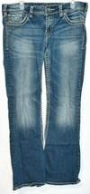 Silver Jeans Women's Suki Bootcut Embroidered Medium Blue Denim Size W32/L32