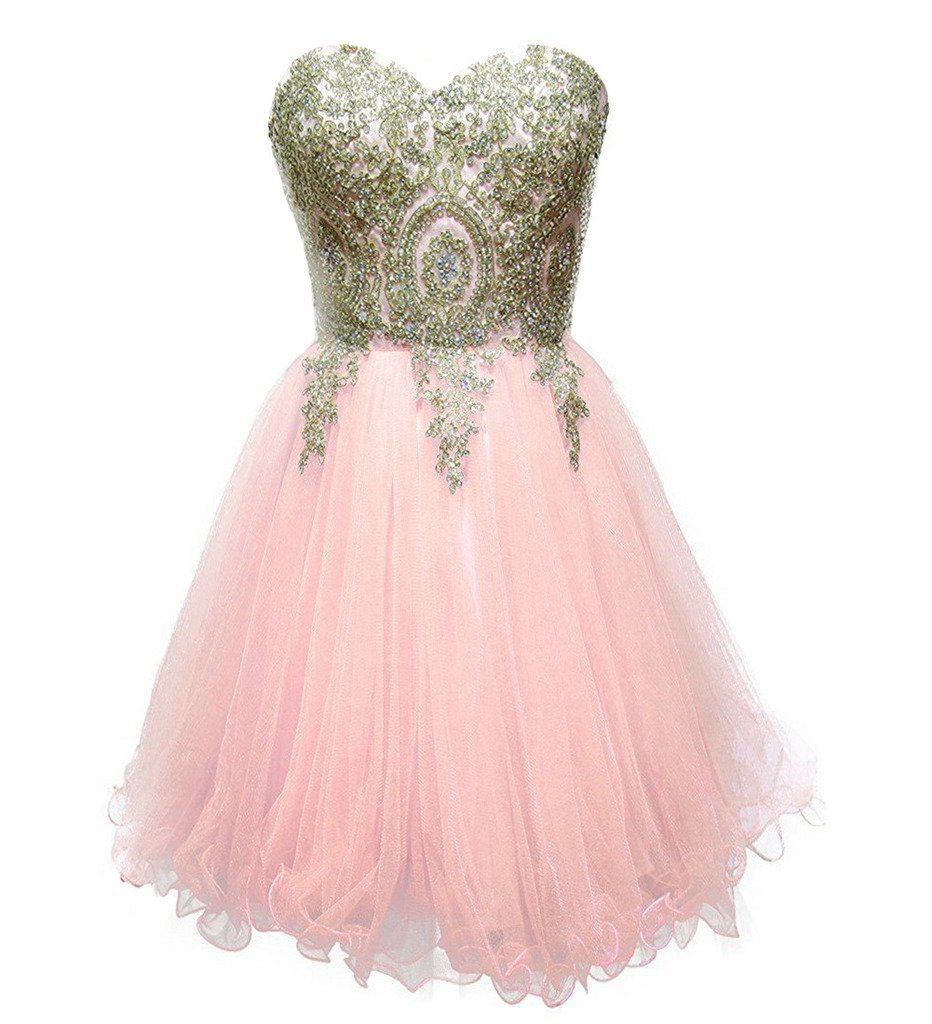 Sweetheart Gold Lace Crystals Short Prom Homecoming Cocktail Dresses Light Pi...