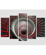Abstract Spiral Staircase Red and Black Abstract Canvas Print Spiral Wal... - $49.00