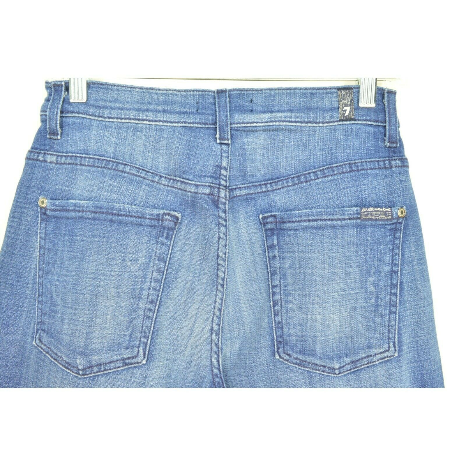 7 For All Mankind jeans cropped 29 x 24 NWT raw hem USA image 3