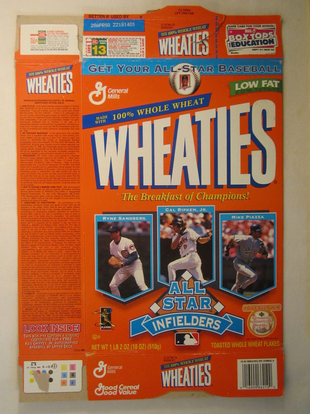 Primary image for Empty WHEATIES Box 1997 18oz ALL STAR INFIELDERS Sandberg Ripken Piazza [Z202h4]