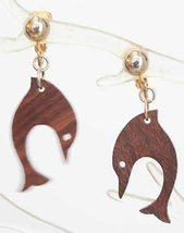 Mid Century Modern Carved Wooden Dolphin Earrings 1970s vintage - £9.50 GBP
