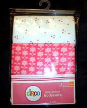 Long Sleeve Bodysuits Onesies 3 Pack Pink Flowers Girls 6 9 Months Cotton Circo - $7.90