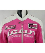 Icon Women's Pink Kitty Jacket Padded Leather Embroidered Patches Size: ... - $137.55