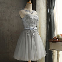 New Arrival Silver Lace Short Bridesmaid Dress Scoop Mini Cocktail Dress Girls  - $75.00