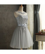 New Arrival Silver Lace Short Bridesmaid Dress Scoop Mini Cocktail Dress... - $75.00