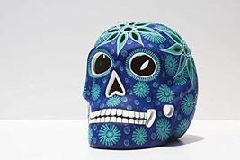 Art Skull Head - Aqua Blue - Hand made ceramic sculpture painted by Mexi... - $75.44