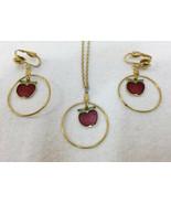 Apple Necklace Pendant & Earring Set Screw Back Enamel Teachers Gold Ton... - $12.86