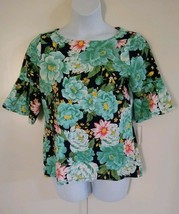 Charter Club Women's Flutter Mid Sleeve Floral Intrepid Blue Green Top Large - $20.56