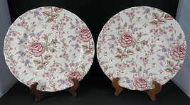 """2 JOHNSON BROTHERS Rose Chintz Dinner PLATE Made in ENGLAND 1883 9 7/8"""" dia - $50.00"""