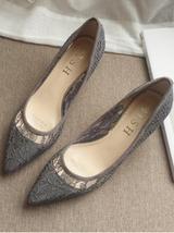 Low Heels Grey Lace Wedding Shoes,Gray Women Bridal Heels,Grey Evening Shoes image 7
