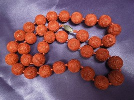 """Estate Chinese Carved 15mm Shou Bead Lacquer Cinnabar 25"""" Beaded Necklace - $311.85"""