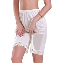 Ilusion Women's Classic Trouser Pants Half Slip with Lace Trim 1037 (Large, Beig