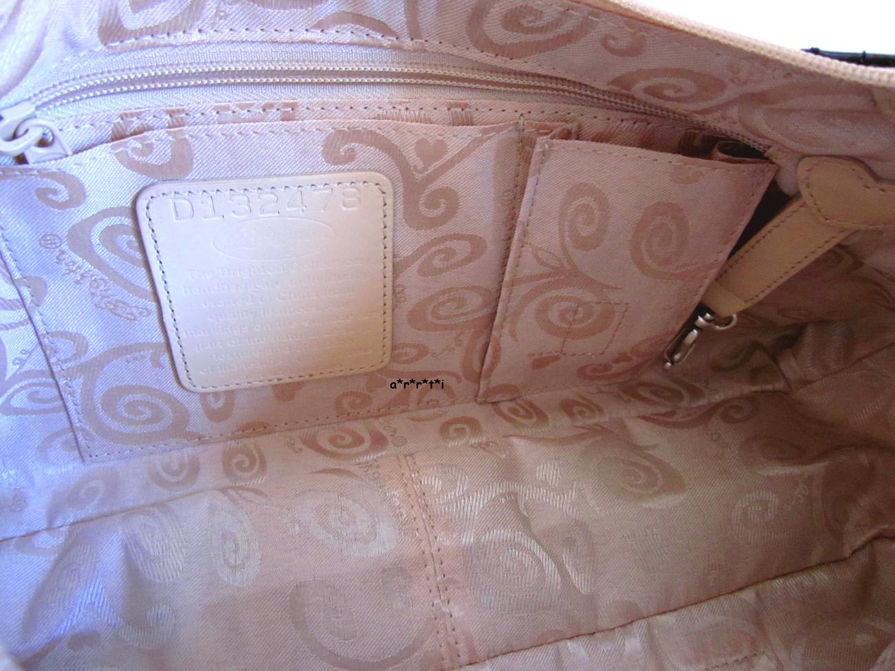 Brighton Paulette Cream Pebbled Leather w Black Patent Trim NWOT - HTF