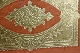 "Italian Florentine Handmade Wooden Tray Wood Orange & Gold 17"" x 11 image 3"