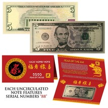 2020 Lunar Chinese New YEAR of the RAT Lucky U.S. $5 Bill w/ Red Folder ... - $37.36