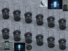 Twelve (12) iron & glass solar light yard garden carriage lanterns outdo... - $216.00