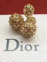 Authentic Christian Dior Tribal Earrings Gradient Crystal Gold RARE
