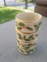 Lenox Holly Vintage gold L mark  Napkin Rings 4 holiday table - $46.00