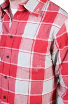 Tavik Uomo Rosso Grigio Checker Slacker Lumberjack Flanella con Bottoni Up Nwt image 2
