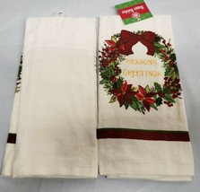 "SET of 2 PRINTED TOWELS 15x25"",CHRISTMAS FLOWER WREATH,SEASON'S GREETING... - $11.87"