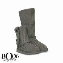 UGG CLASSIC CARDY GREY SUEDE SHEEPSKIN KNIT TALL BOOTS WOMEN`S SIZE US 9... - $134.99