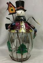 "Large 18"" Christmas Metal & Glass Snowman Votive Candle Holder - $19.79"