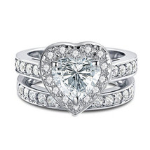 14K White Gold Over Bridal Wedding Ring Set Heart Cut Simulated Diamond  - $85.00