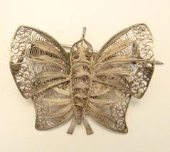 SILVER FILIGREE BUTTERFLY PIN - $10.00