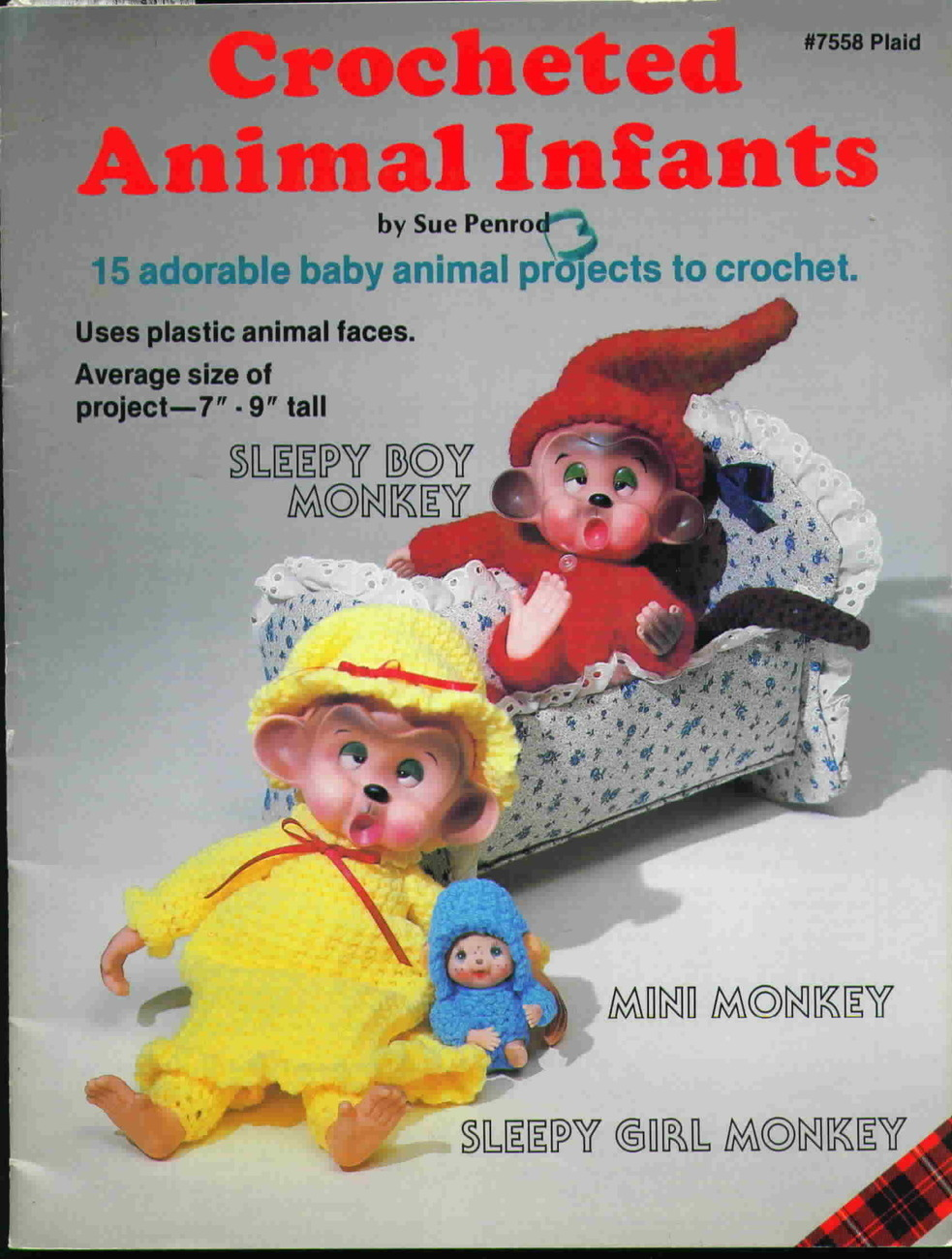 Crocheted animal infants from plaid