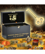 WR Zimbabwe Wooden Box & 1000 PCS Colored Gold Z$100 Tril... - $1,680.00