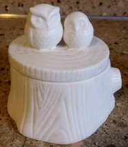PartyLite Owls Essential Jar Holder White Tea Light Holder - $24.74