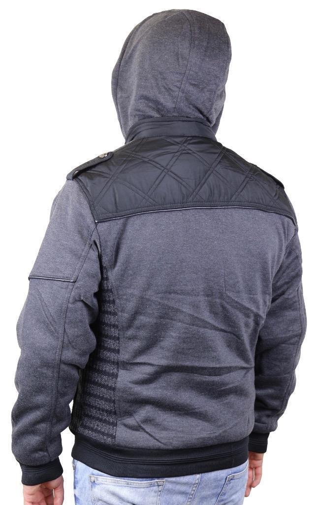 Maximos Men's Hooded Zip Up Fleece Lined Sherpa Slim Fit Bomber Jacket 1699