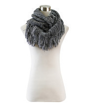 Striped Knitted Fringe Infinity Scarf - £10.60 GBP